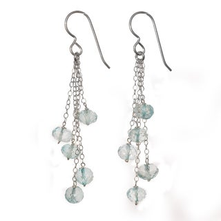 Ashanti Sterling Silver Blue Quartz Dangle Handmade Earrings (Sri Lanka)