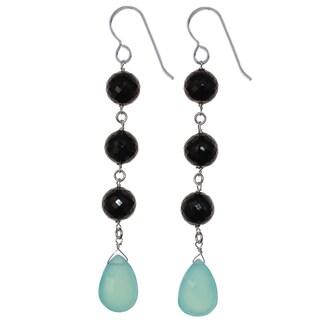 Aqua Blue Chalcedony and Black Spinel Silver Dangle Handmade Earrings. Ashanti Jewels