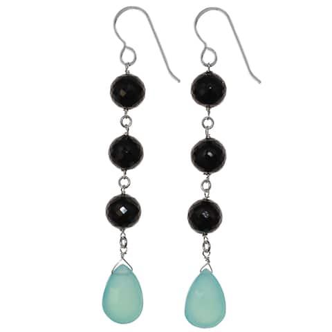 Aqua Blue Chalcedony and Black Spinel Silver Dangle Handmade Earrings