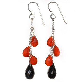 Ashanti Sterling Silver Carnelian and Black Spinel Briolette Gemstone Dangle Handmade Earrings (Sri Lanka)