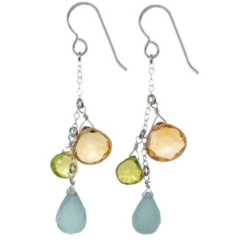 Handmade Aqua Chalcedony, Citrine and Peridot Dangle Handmade Silver Earrings