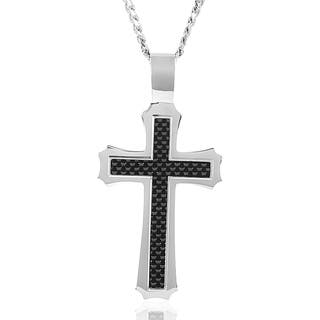 Crucible Stainless Steel Men's Carbon Fiber Inlay Flared Cross Necklace|https://ak1.ostkcdn.com/images/products/8136971/P15480912.jpg?impolicy=medium