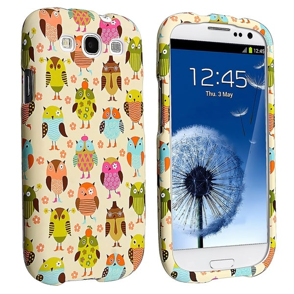 INSTEN Fancy Owls Snap-on Rubber Coated Phone Case Cover for Samsung Galaxy S3