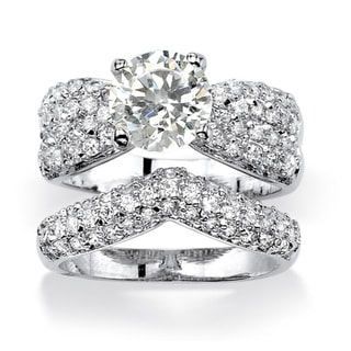 PalmBeach 3.20 TCW Cubic Zirconia Platinum over Sterling Silver Wedding Ring Set Glam CZ