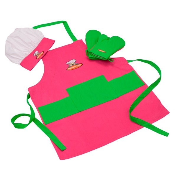 Curious Chef Pink and Green Children's Chef Kit