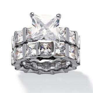 12.67 TCW Princess-Cut Cubic Zirconia Platinum-Plated Eternity Wedding Band Set Glam CZ