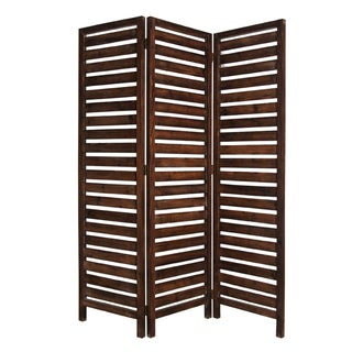 Handmade Fortress 3-panel Brown Wood Screen (China)