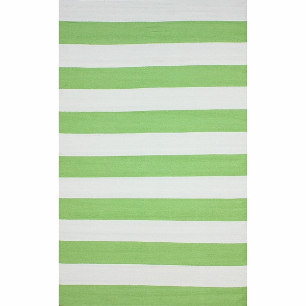 nuLOOM Flatweave Indoor/ Outdoor Reversible Thick Striped Green Rug (5' x 8')