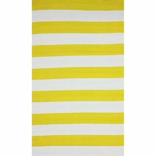 nuLOOM Flatweave Indoor/ Outdoor Reversible Thick Striped Yellow Rug (8' x 10')
