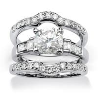 2.95 TCW Round Cubic Zirconia Platinum over Sterling Silver 3-Piece Bridal Engagement Ring