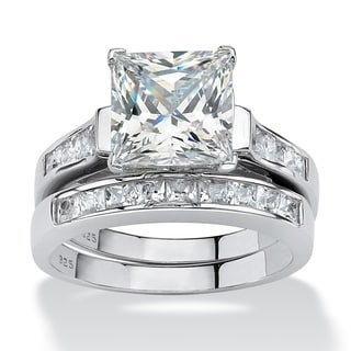 3.95 TCW Princess-Cut Cubic Zirconia Two-Piece Bridal Set in Platinum over Sterling Silver