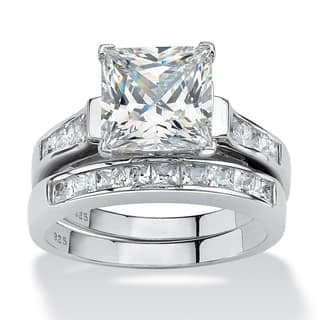 395 TCW Princess Cut Cubic Zirconia Two Piece Bridal Set In Platinum Over Sterling