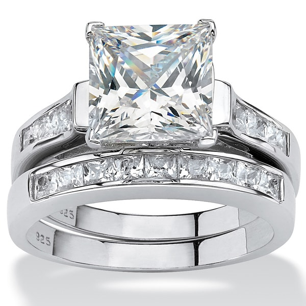 3.95 TCW Princess Cut Cubic Zirconia Two Piece Bridal Set In Platinum Over  Sterling
