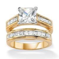 2.92 TCW Princess-Cut Cubic Zirconia 14k Yellow Gold-Plated Bridal Engagement Ring Wedding