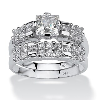 2.06 TCW Princess-Cut Cubic Zirconia Platinum over Sterling Silver Bridal Engagement Ring