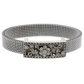 MARC Sterling Silver Marcasite Filigree Stretch Mesh Bracelet
