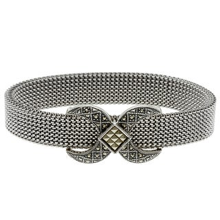 MARC Sterling Silver Marcasite 'X' Design Stretch Mesh Bracelet