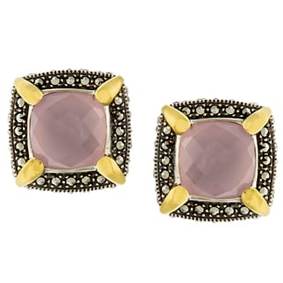 MARC Sterling Silver Lavender Chalcedony and Marcasite, accented with 14K Yellow Gold Prongs Earrings