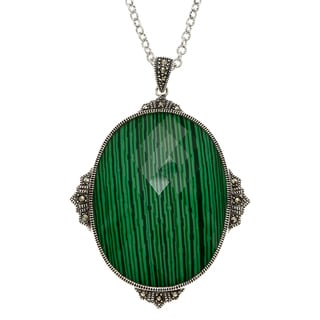 MARC Sterling Silver Crystal & Malachite Doublet and Marcasite Necklace
