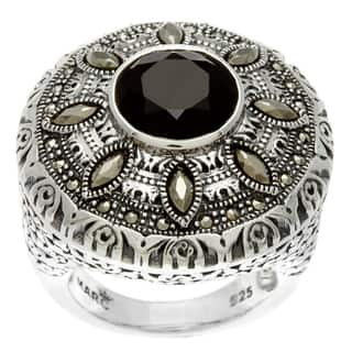 MARC Sterling Silver Black Onyx and Marcasite Round Ring|https://ak1.ostkcdn.com/images/products/8137193/8137193/MARC-Sterling-Silver-Black-Onyx-and-Marcasite-Ring-P15481118.jpg?impolicy=medium