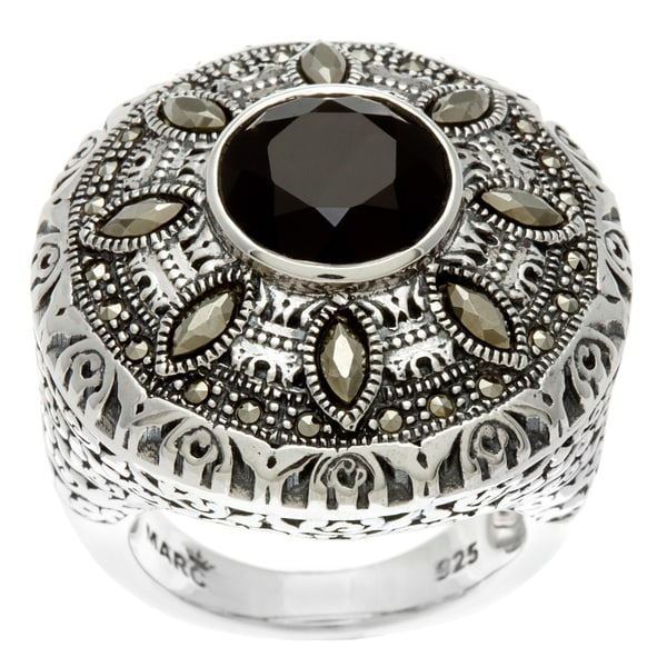 MARC Sterling Silver Black Onyx and Marcasite Round Ring