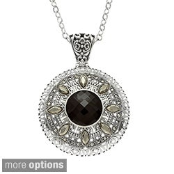 MARC Sterling Silver Gemstone and Marcasite Round Pendant