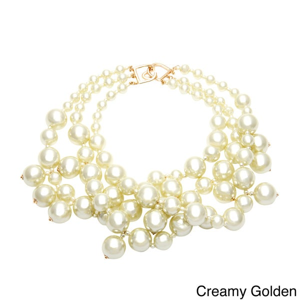 Kenneth Jay Lane Faux Pearl Cluster Necklace