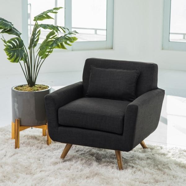 Marvelous Abbyson Bradley Grey Mid Century Fabric Armchair