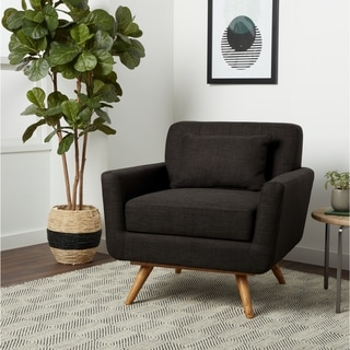 ABBYSON LIVING Bradley Mid Century Gray Tufted Fabric Armchair