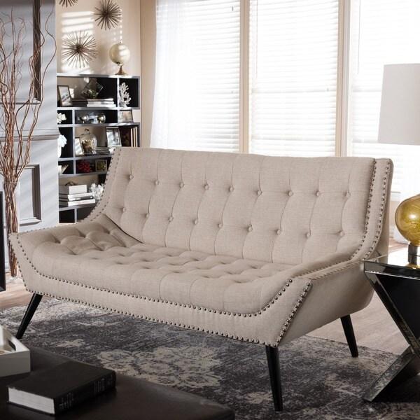 Tamblin Beige Linen Modern Mid-century Style Sofa