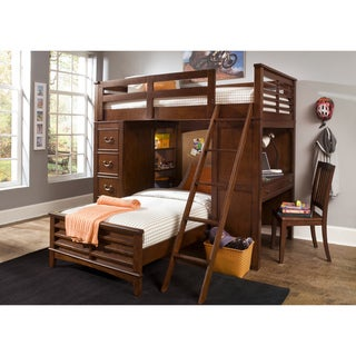 Chelsea Square Twin-Over-Twin Loft Bunk Bed with Cork Board Headboard