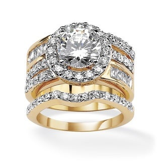 5.15 TCW Round Cubic Zirconia Two-Piece Halo Bridal Set 18k Gold-Plated Glam CZ