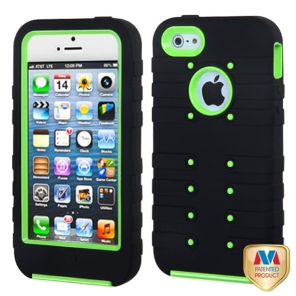 INSTEN Pearl Green/ Black TUFF eNUFF Hybrid Phone Case Cover for Apple iPhone 5