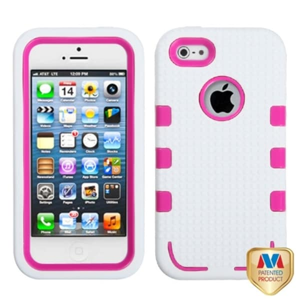 INSTEN Hot Pink/ White TUFF eNUFF Hybrid Phone Case Cover for Apple iPhone 5