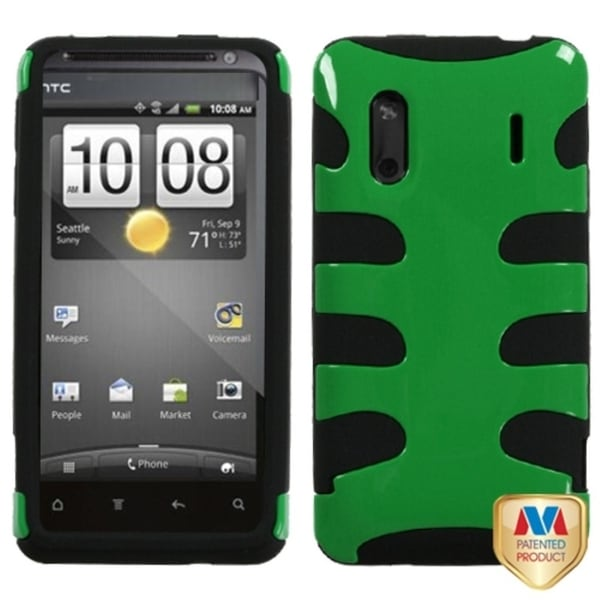 INSTEN Dark Green Fishbone Phone Case Cover for HTC EVO Design 4G