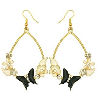 Kate Marie Goldtone Rhinestone and Acrylic Flower/ Butterfly Earrings