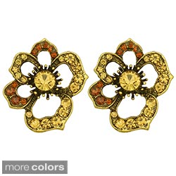 Kate Marie Goldtone or Silvertone Rhinestone Flower Fashion Earrings