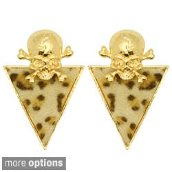 Kate Marie Goldtone or Silvertone Leopard Pattern Skull Earrings