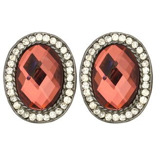 Kate Marie Silvertone Colored Rhinestone Winsome Earrings (2 options available)