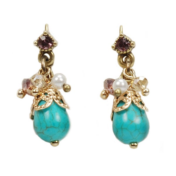 Sweet Romance Turqoise and Pearl Cluster Drop Earrings