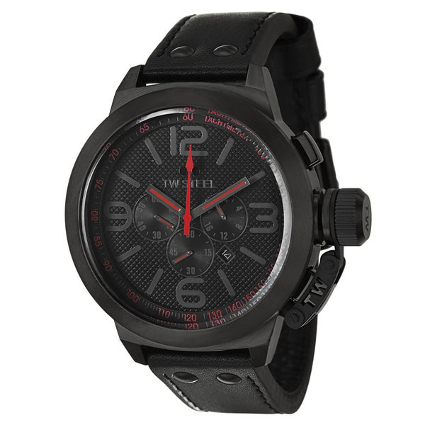 TW Steel Men's 'Canteen' Large Black/ Red Steel Chronograph Watch