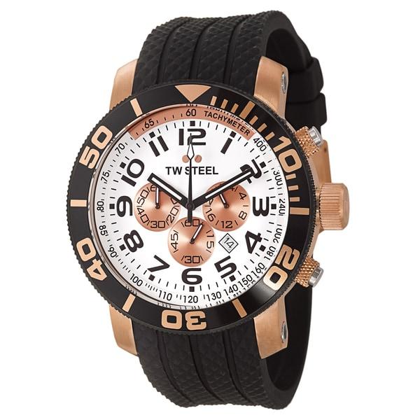TW Steel Men's 'Grandeur Diver' Large Rose Goldtone Chronograph Watch