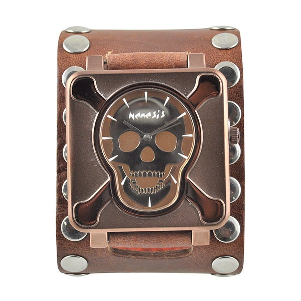 Nemesis Men's 'Crossbones' Leather Strap Watch