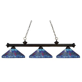 Bronze Tiffany-style Billiard 3-light Fixture