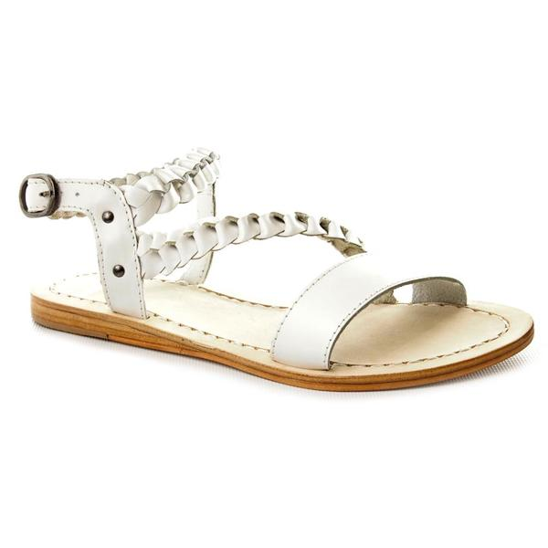 Bronx Women's 'Just Kick It' White Leather Sandals