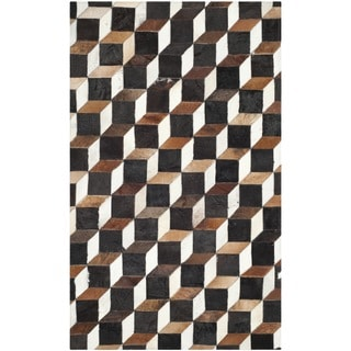 Safavieh Hand-woven Studio Leather Modern Abstract Brown/ Ivory Rug (3' x 5')