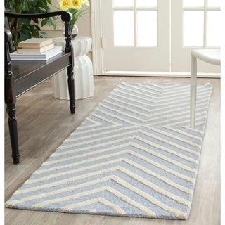 Safavieh Handmade Moroccan Cambridge Light Blue/ Ivory Wool Runner Rug (2'6 x 6')