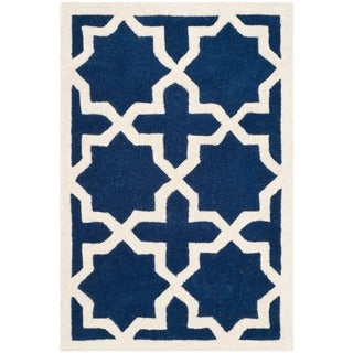 Safavieh Handmade Moroccan Chatham Dark Blue Large-pattern Wool Rug (2' x 3')