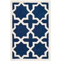 Safavieh Handmade Moroccan Chatham Dark Blue Large-pattern Wool Rug - 2' X 3'