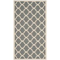 "Safavieh Courtyard Moroccan Trellis Anthracite/ Beige Indoor/ Outdoor Rug - 2'7"" x 5'"
